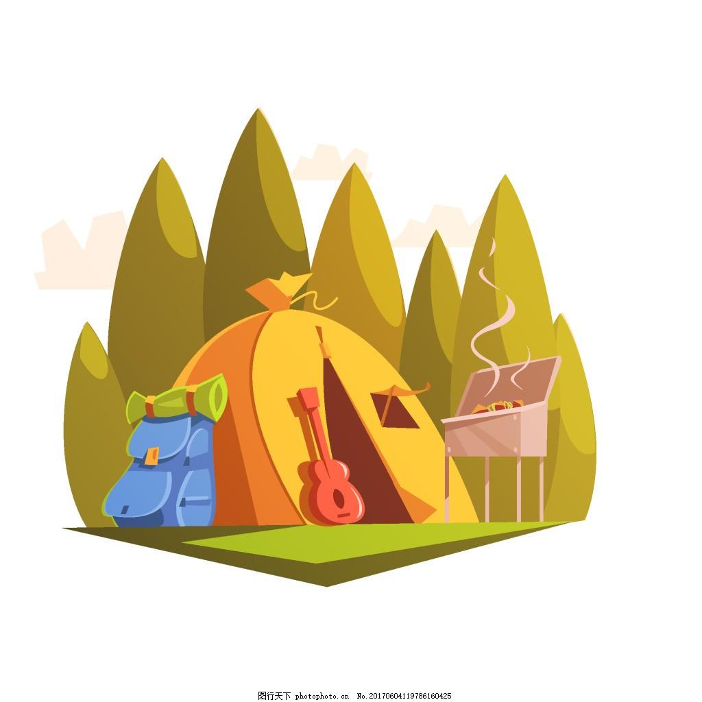 手绘野营大山元素