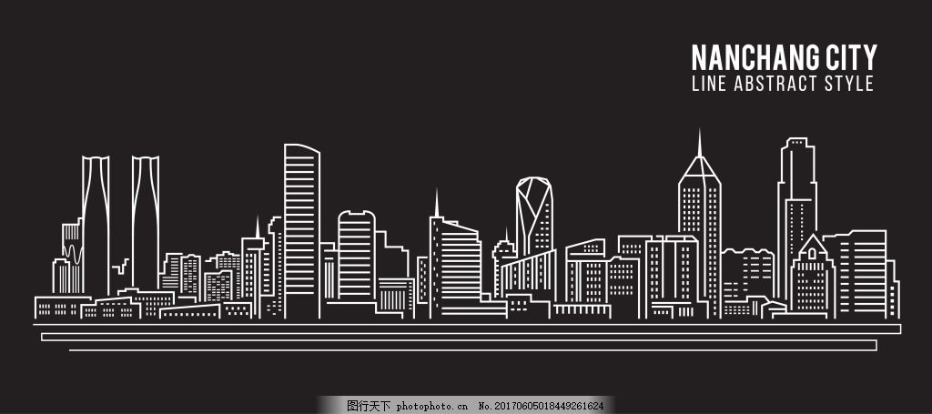 城市建筑插画 手绘 线条 高楼 房子 黑白
