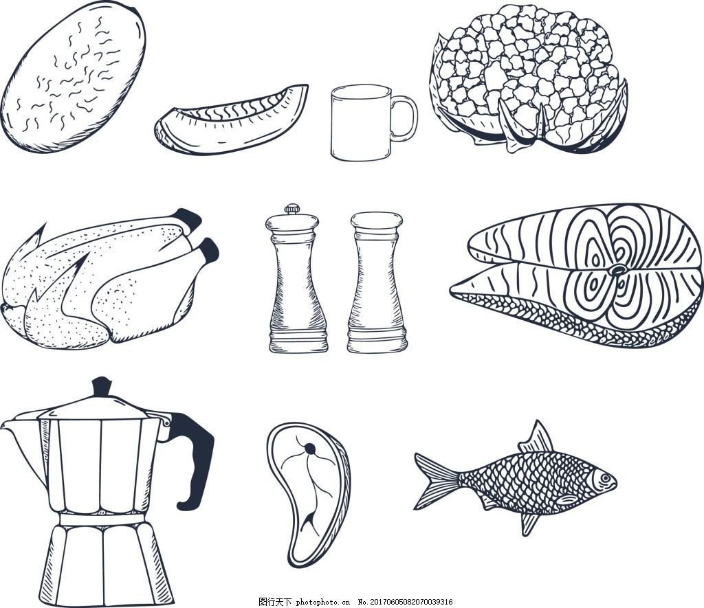 厨房卡通黑白线条矢量涂鸦装饰元素合集 鱼肉 蔬菜 杯子 手绘涂鸦