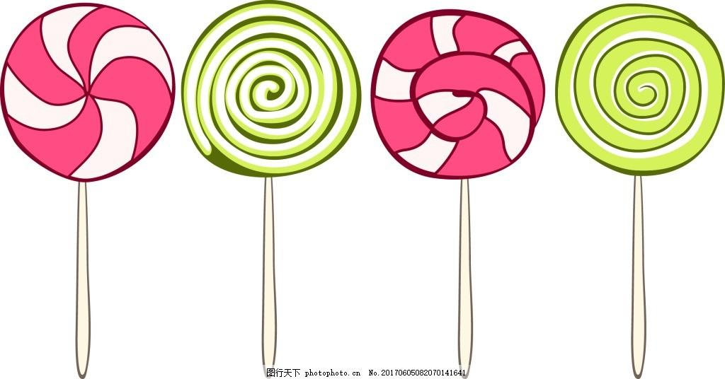 创意卡通棒棒糖 手绘 可爱 彩色 甜蜜 糖果