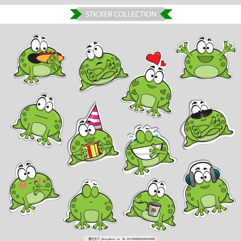 可爱的绿豆蛙 儿童画 动物 青蛙