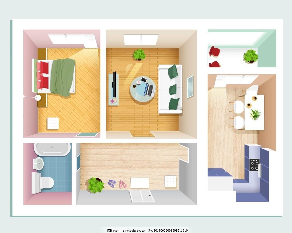 粉色少女手绘房型家居装修布置矢量 女生 房间 俯视 模拟人生 卡通