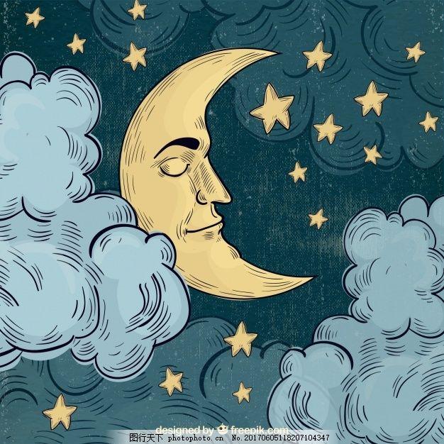 月亮睡的背景 水彩 手绘 水彩背景 脸 星星 夜晚 睡觉 美丽