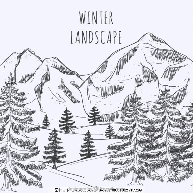 大冬山水 背景 冬季 雪手 自然 手绘 景观 冬季背景 树木