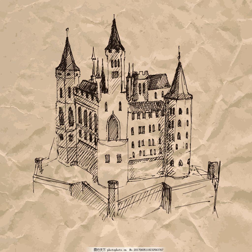 城堡褶皱纸张手绘速写欧洲建筑矢量 著名建筑 欧式建筑 素描 广告