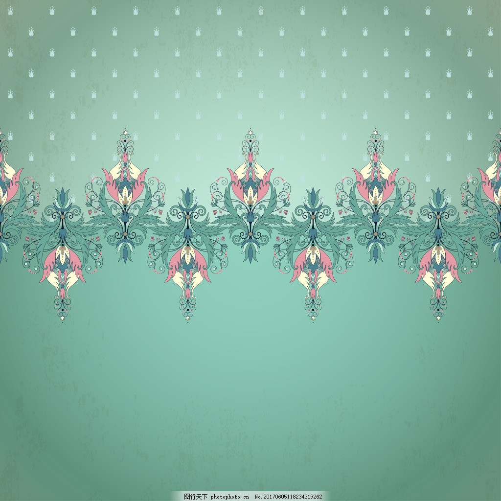绿色波点复古花纹装饰画背景海报卡片 花纹 欧式 墙壁 背景 花朵 装饰