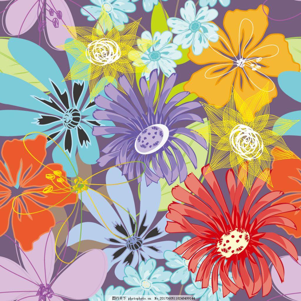 创意手绘花卉背景 矢量素材 无缝图案 无缝拼贴 无缝平铺 无缝背景