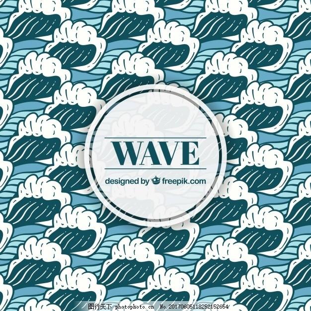 手绘波浪背景,水海 绘画 海洋 装饰 绘制 海浪-图行