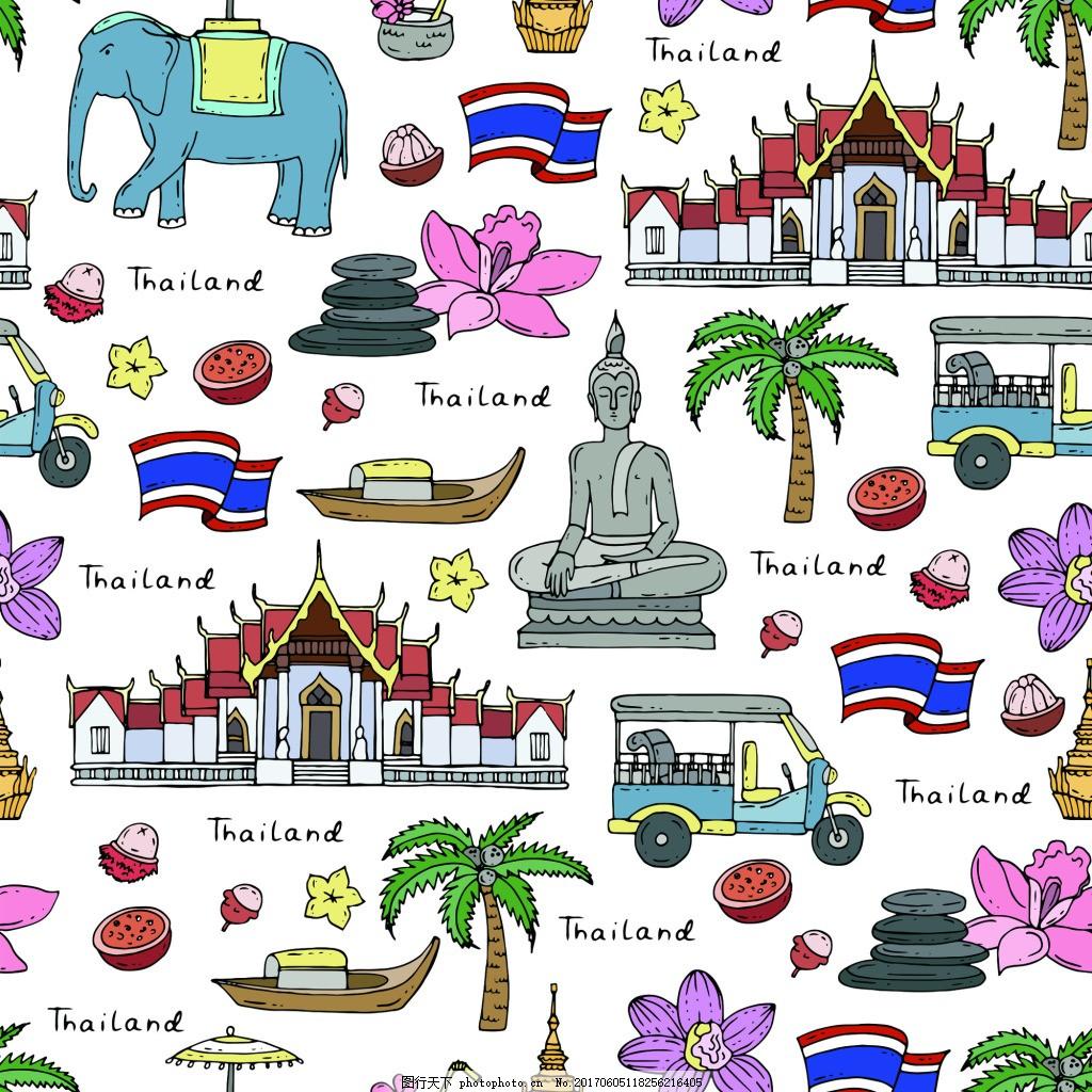 手绘大象泰国旅游场景海报元素矢量素材