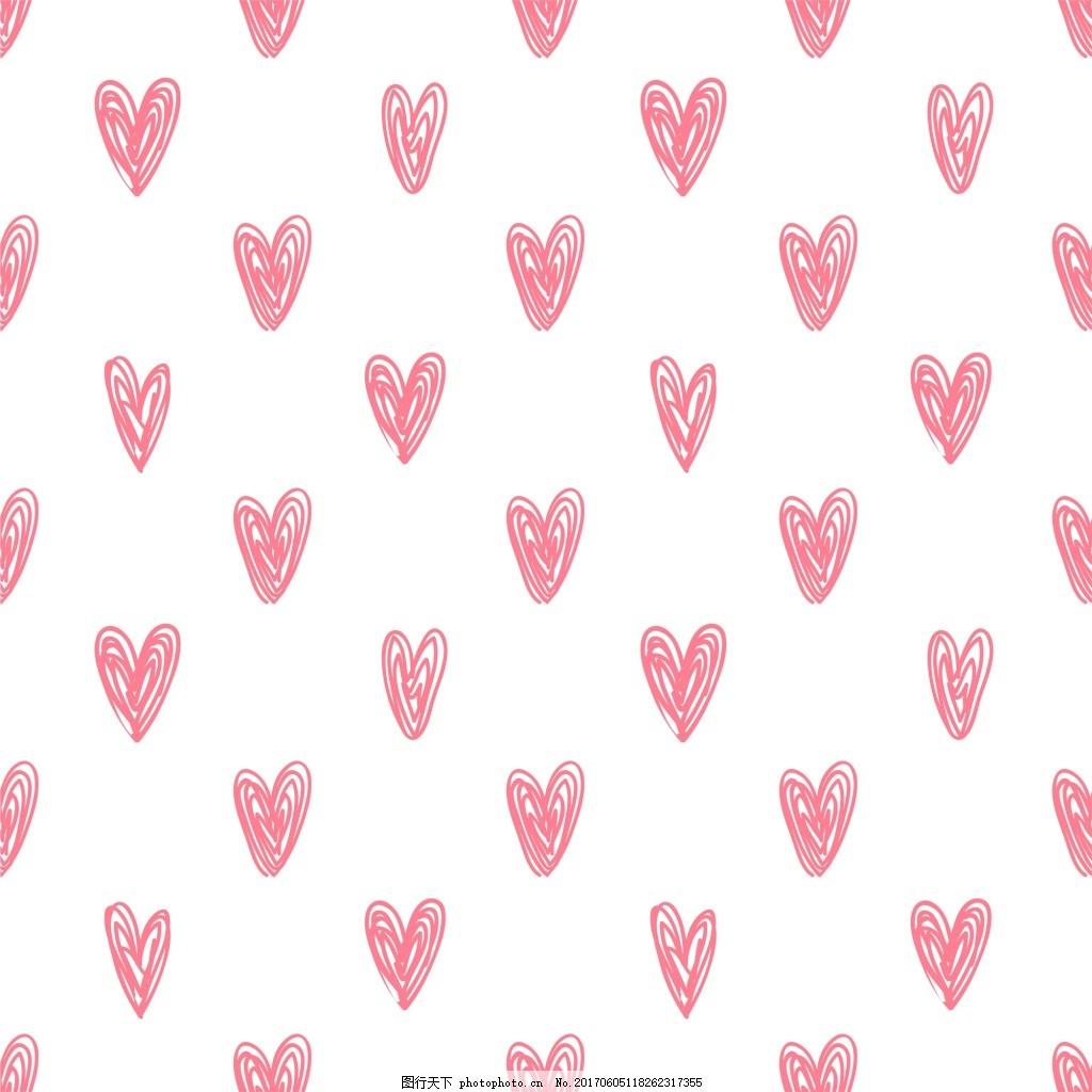 粉色爱心纹理背景底纹矢量素材 手绘 卡通 彩色 可爱 爱情 白色