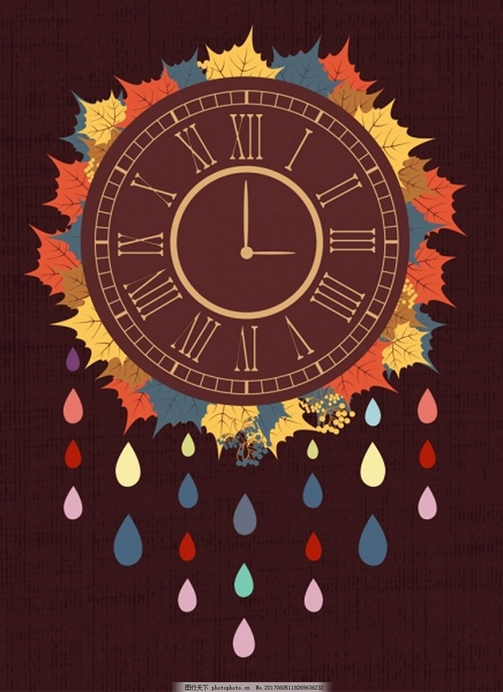 创意枫叶时钟背景图