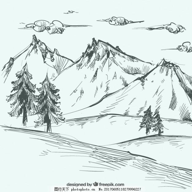 山水写生 背景 手 叶 自然 手绘 大地 森林 风景 树叶 素描 树木 环境