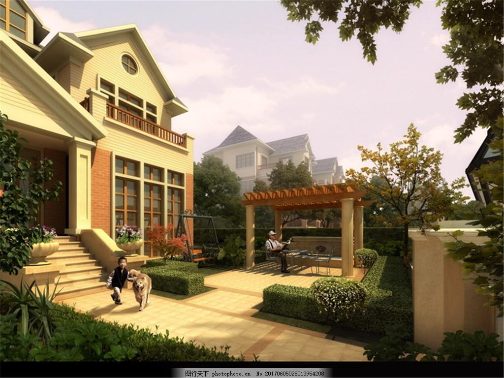 别墅门口景观效果图 建筑表现 环境设计 景观设计 室外设计