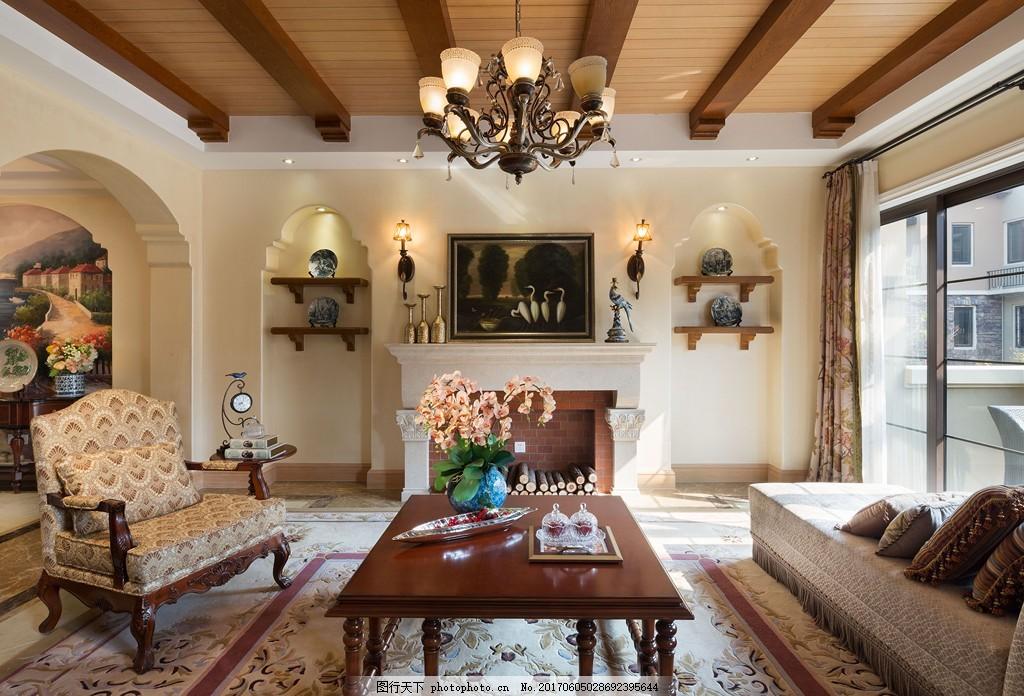 美式简约客厅装修效果图 室内设计 家装效果图 美式装修效果图 时尚