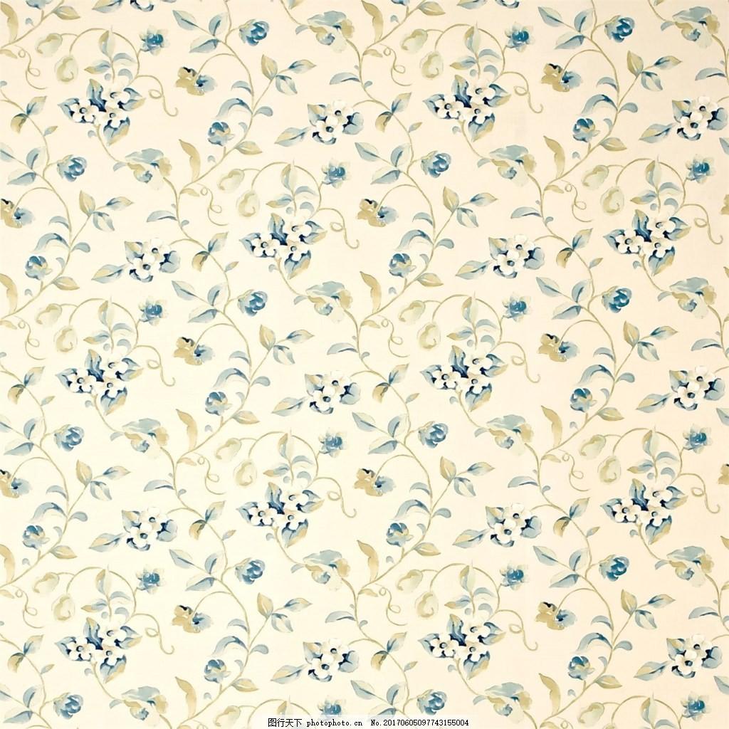 蓝色碎花图案壁纸 中式花纹背景 壁纸素材 无缝壁纸素材 欧式花纹
