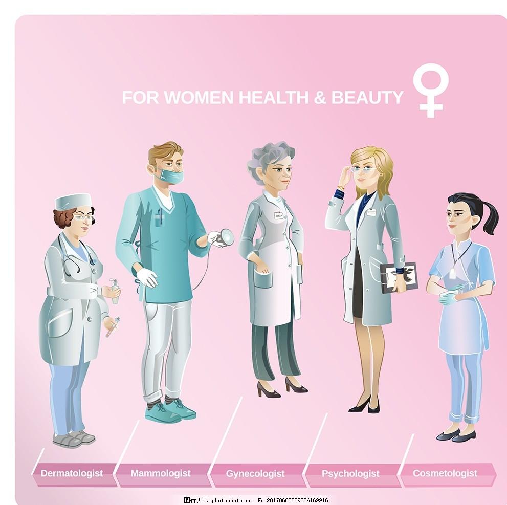 医疗器械 上班族 简笔画 幼儿园 医院图案 治病 男人 女人 白大褂