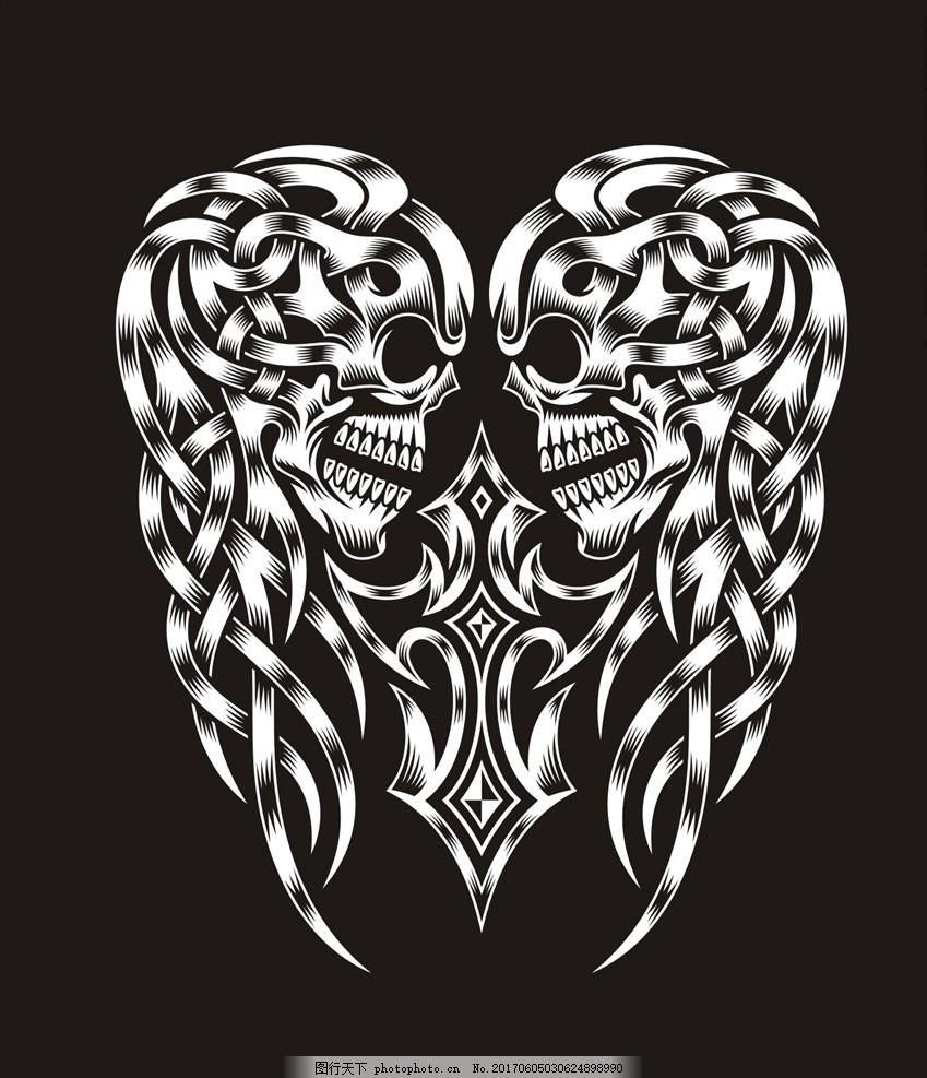 骷髅头十字架纹身图案 服装设计 男装设计 女装设计 民族花纹花边