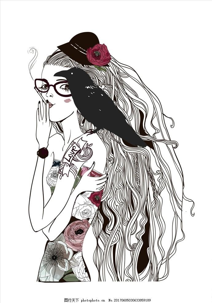 潮流手绘人物插画矢量图下载 服装设计 男装设计 女装设计 民族花纹