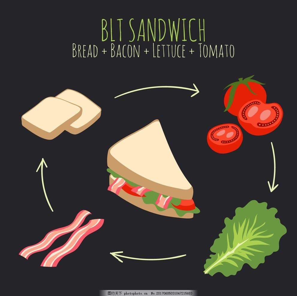 手绘三明治 食品 菜单 餐厅 蛋糕 家庭 厨房 面包 烹饪 有机