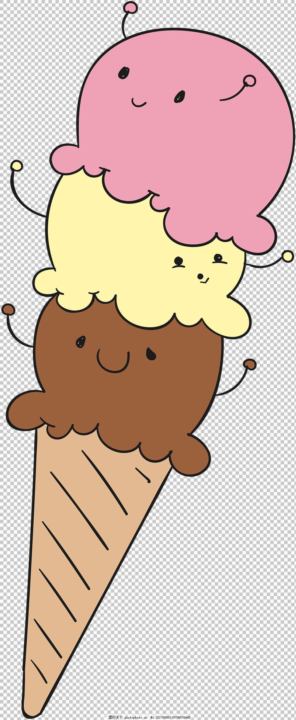 手绘可爱表情冰淇淋免抠png透明图层素材