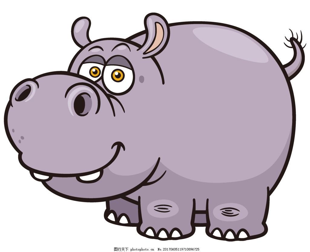 卡通 可爱 矢量 动物 源文件 浅紫色 母 河马 牙齿 故事