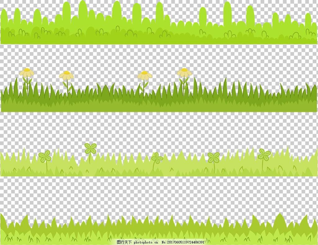 手绘绿色草地免抠png透明图层素材 绿草边框 鲜花 花草 蝴蝶
