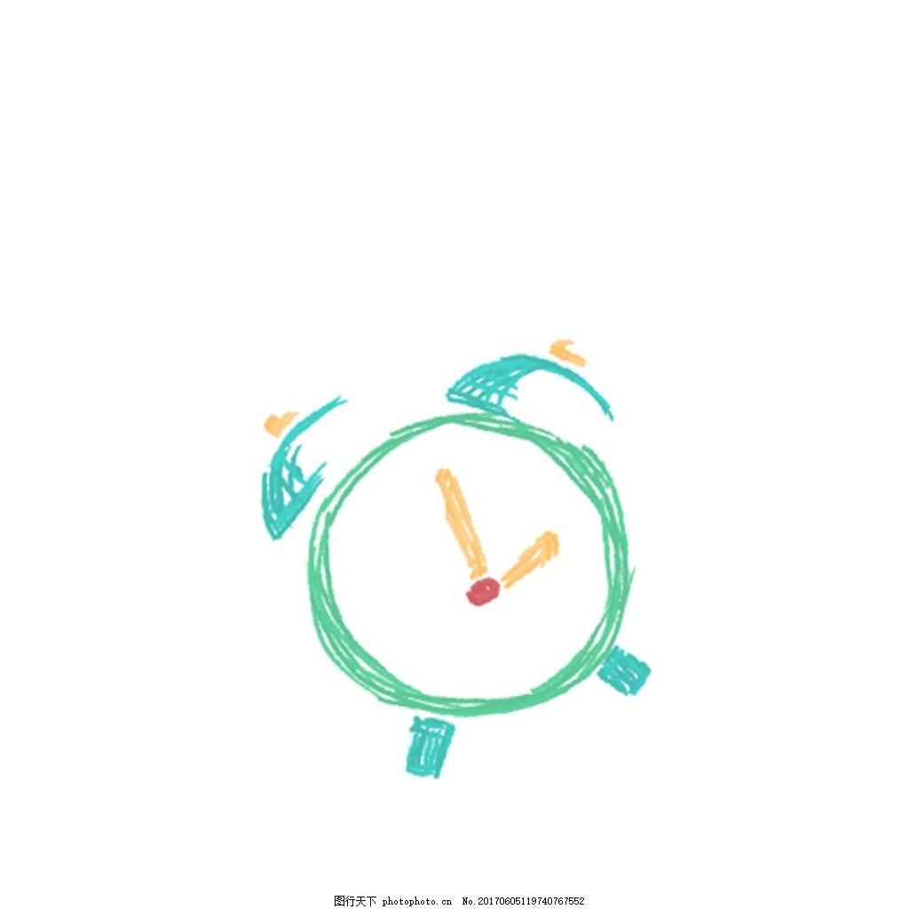 彩绘闹钟元素 手绘 绿色 边框