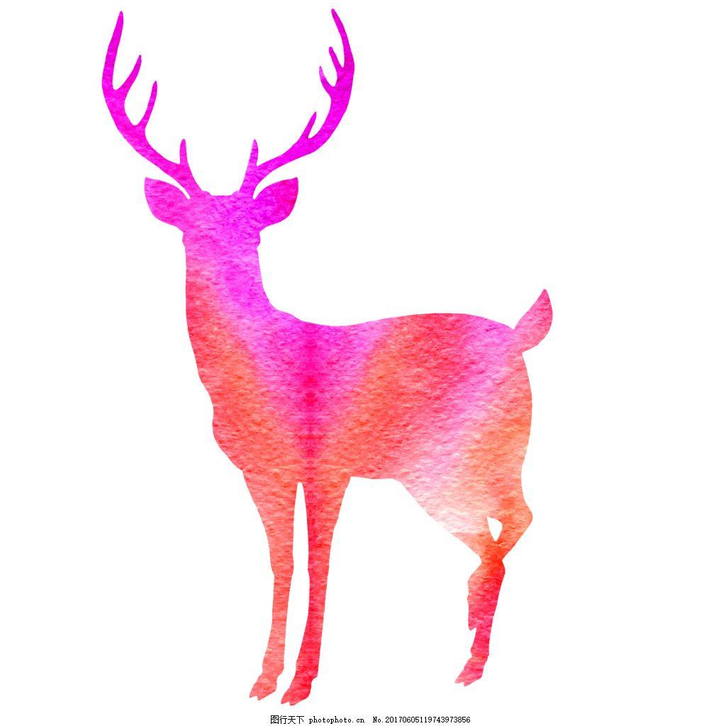 森系鹿角小鹿手绘插画eps矢量素材