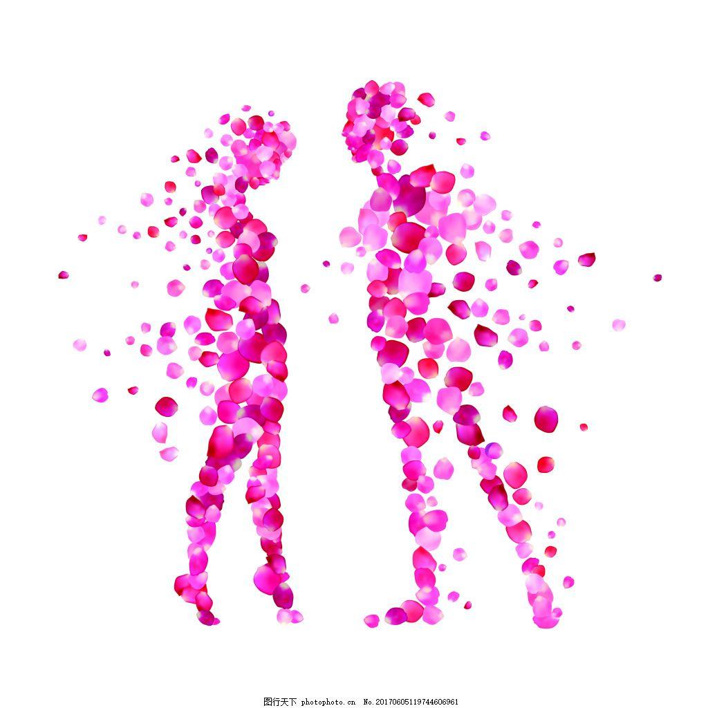 粉色花瓣情侣矢量海报设计素材