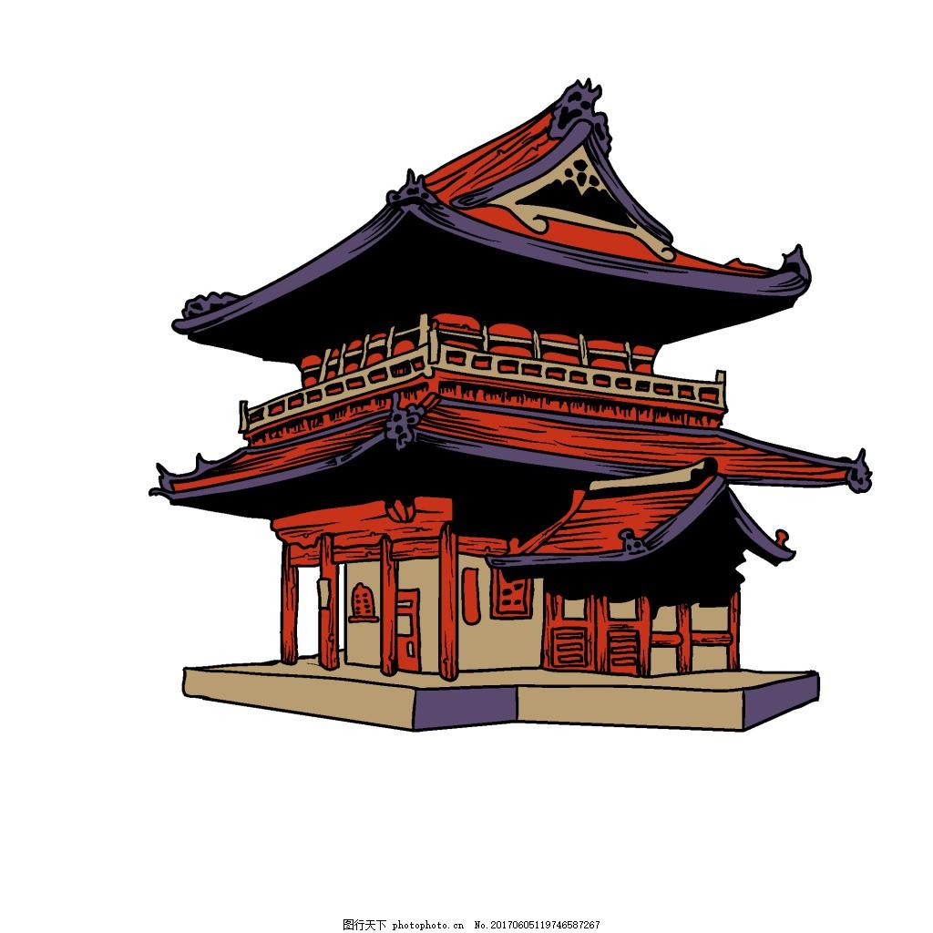 手绘古代高楼元素 矢量 复古 建筑 尖顶高楼