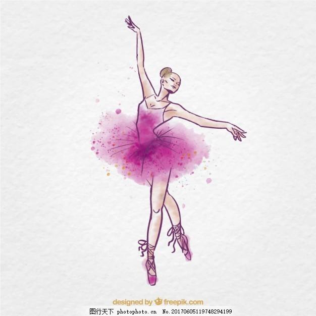 水彩芭蕾舞女 手 粉红色 手绘 飞溅 舞蹈 艺术 水墨画 艺术家