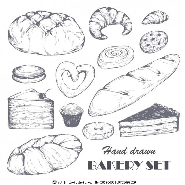 手工面包店 采购产品食品 蛋糕 手绘 饼干 画 甜甜圈 松饼 收集