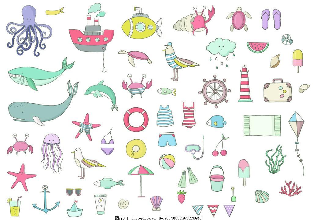 可爱彩色手绘儿童插画海洋生日章鱼矢量 彩色 卡通 章鱼 鲸鱼 线稿