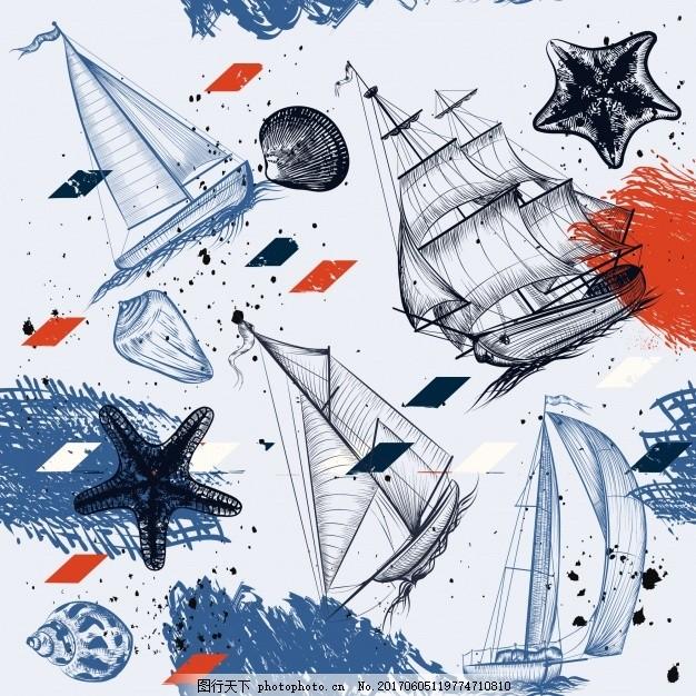 手绘船绘背景 海画 元素 海洋 航海 水手 海军 帆拉 帆船
