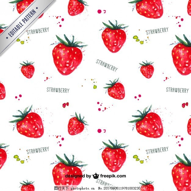 水彩画的草莓图案图片
