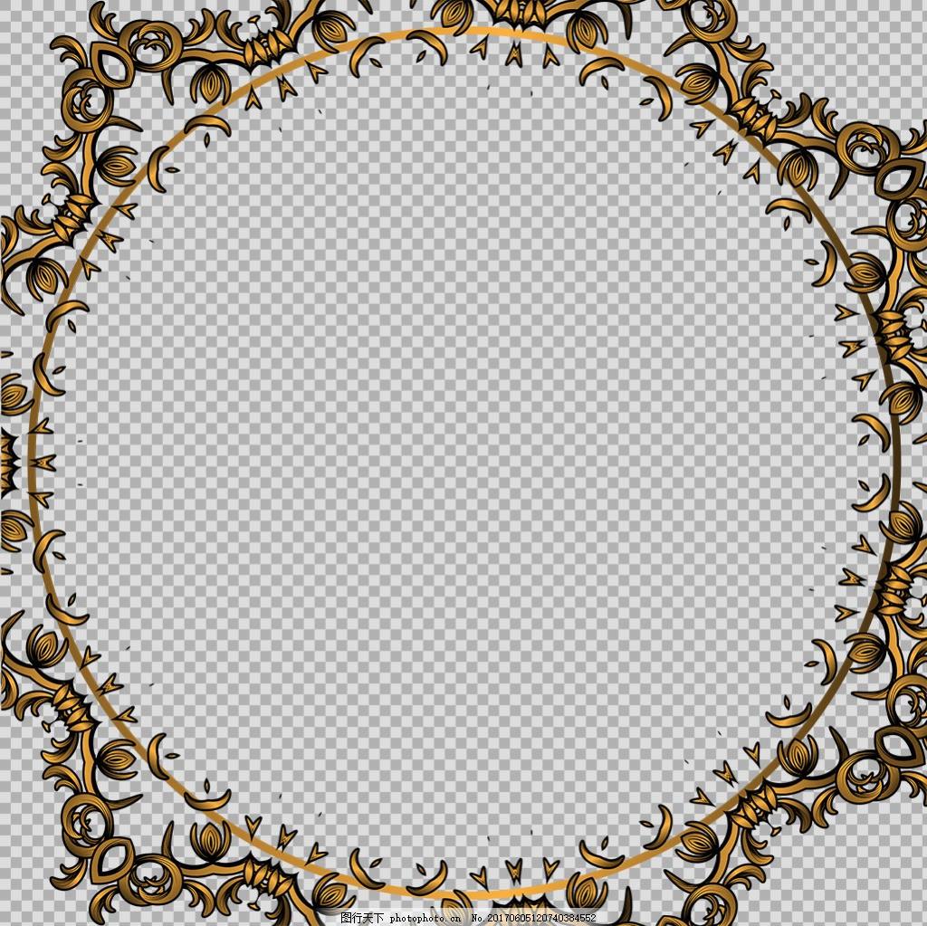 抽象金色花纹边框免抠png透明图层素材