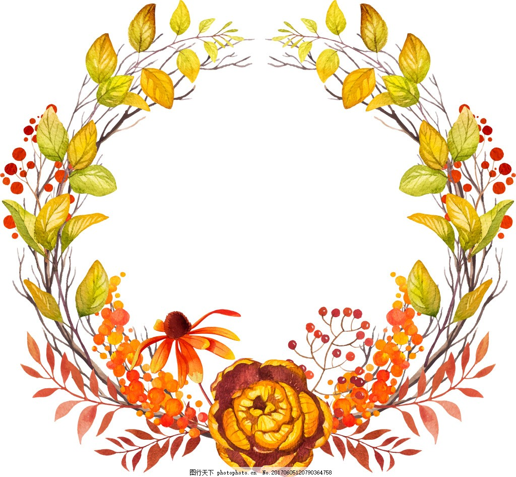 手绘植物花环背景