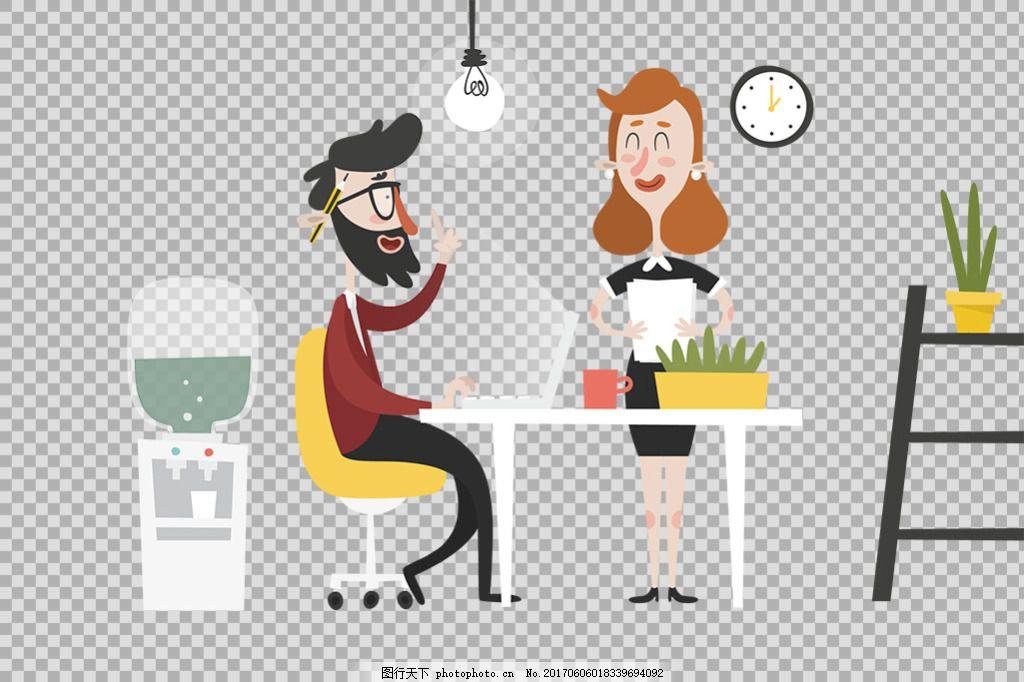 手绘商务男女免抠png透明图层素材