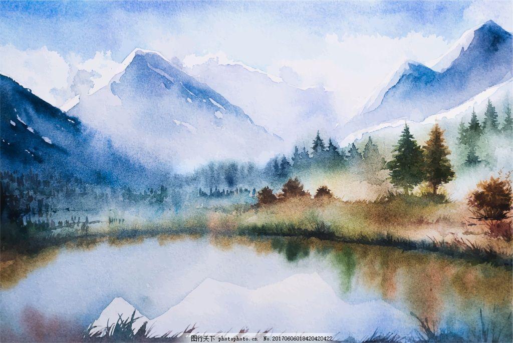 水彩画冬季湖泊森林河边矢量素材图片