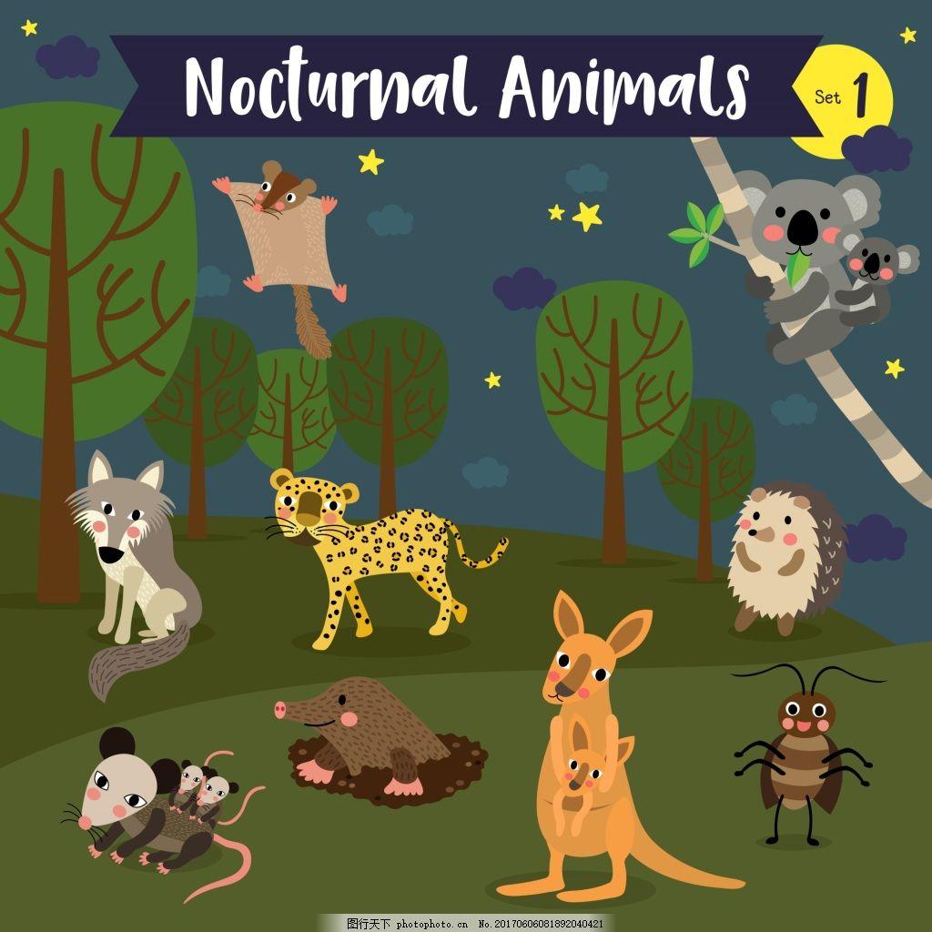 森林野生动物卡通形象矢量素材 老鼠 鼹鼠 袋鼠 考拉 夜晚 行动 动物