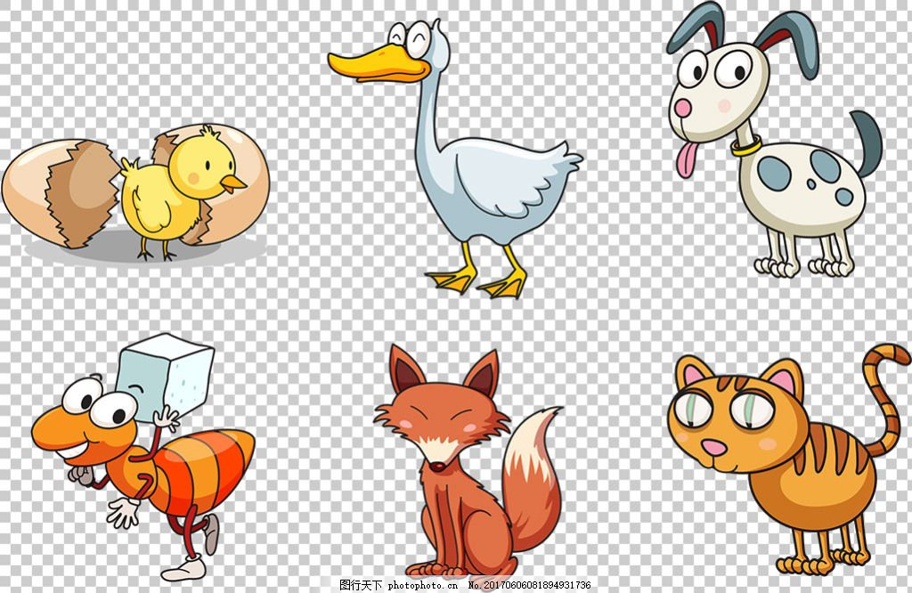 卡通风格动物免抠png透明素材