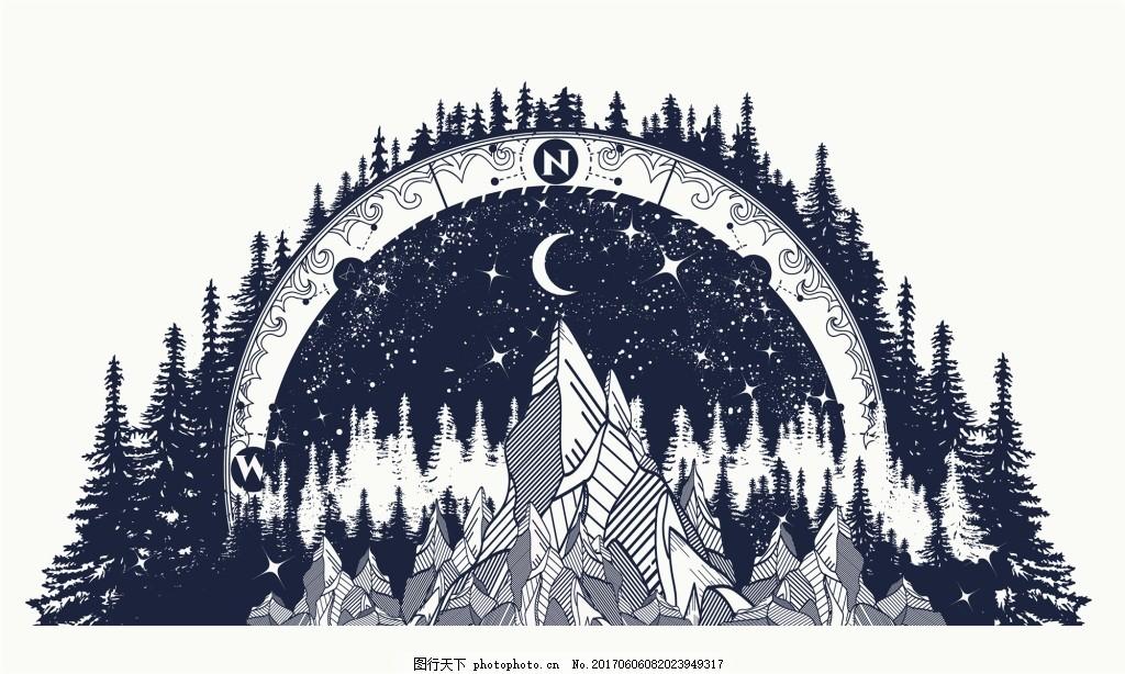 月亮森林纹身图案创意矢量 魔幻 山脉 铅笔画 抽象 艺术 插画 剪影