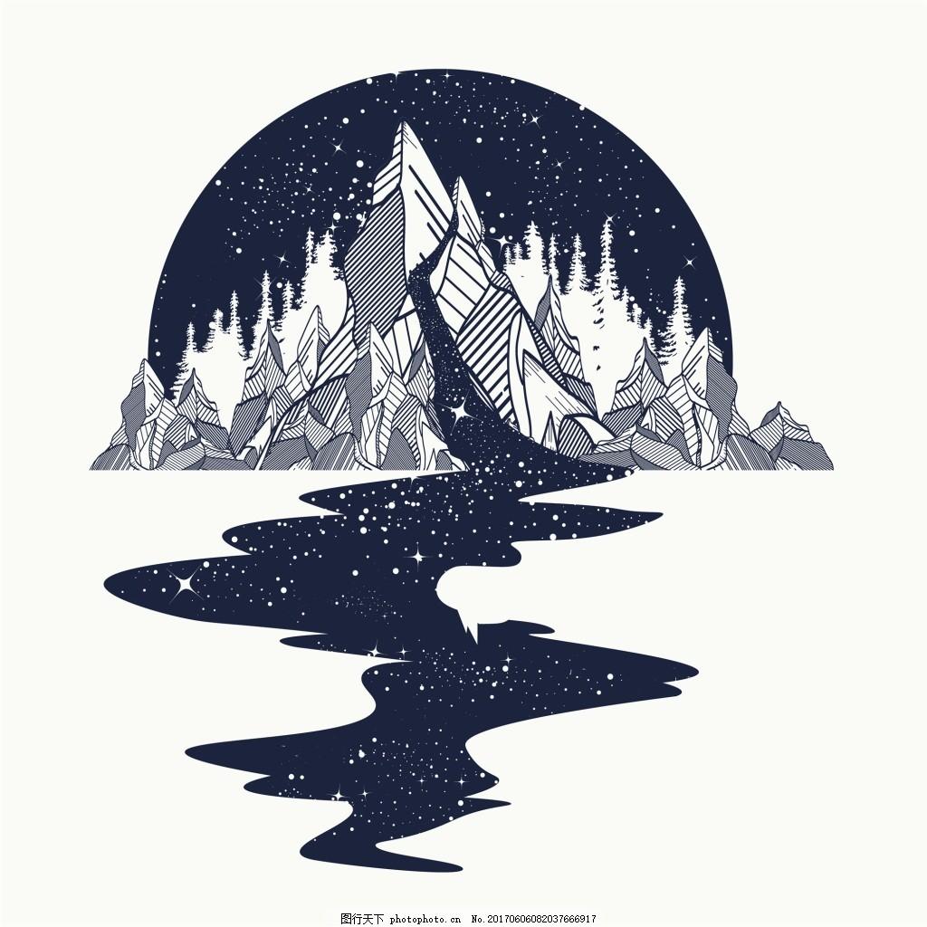 半圆山脉纹身图案创意矢量 蜿蜒的河流 铅笔画 抽象 艺术 插画图片