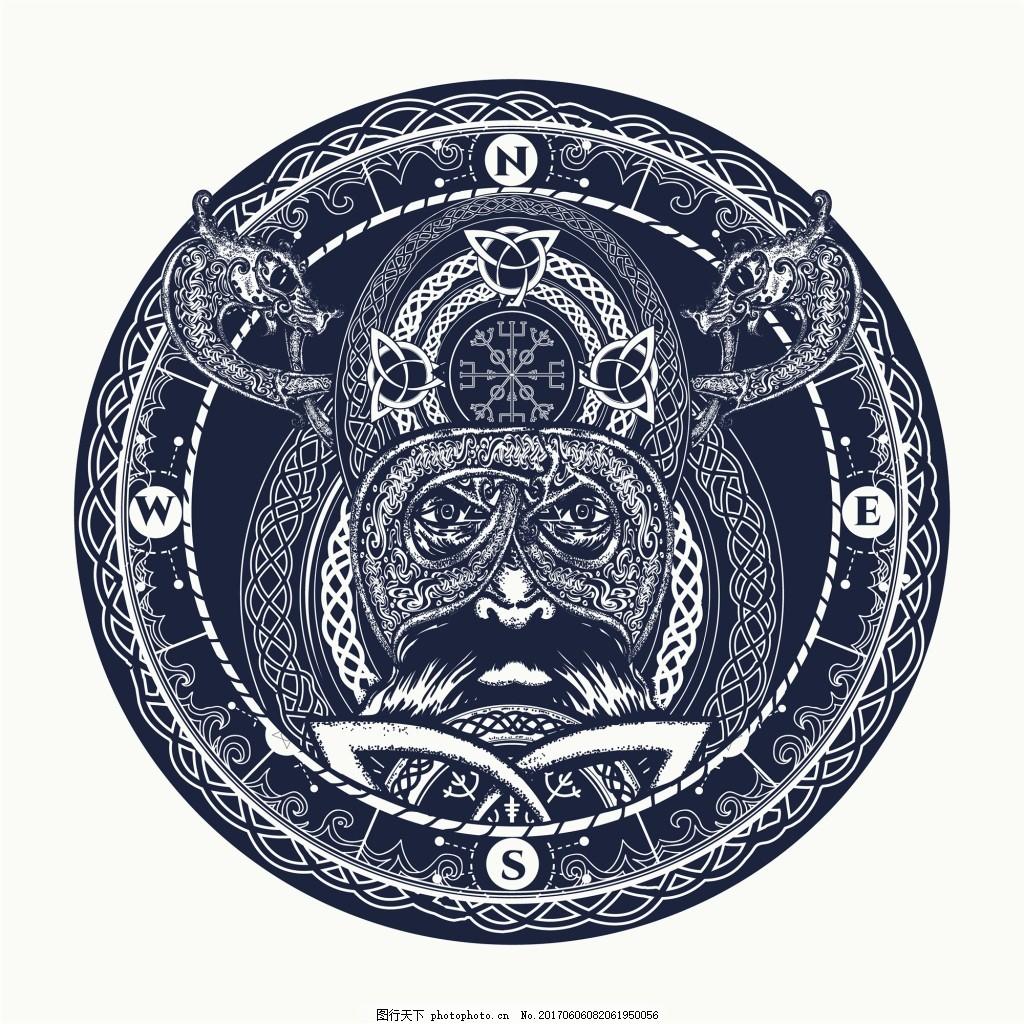 圆形会长纹身图案创意动物鹰眼矢量