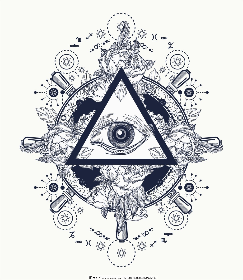 三角形纹身图案创意动物鹰眼矢量