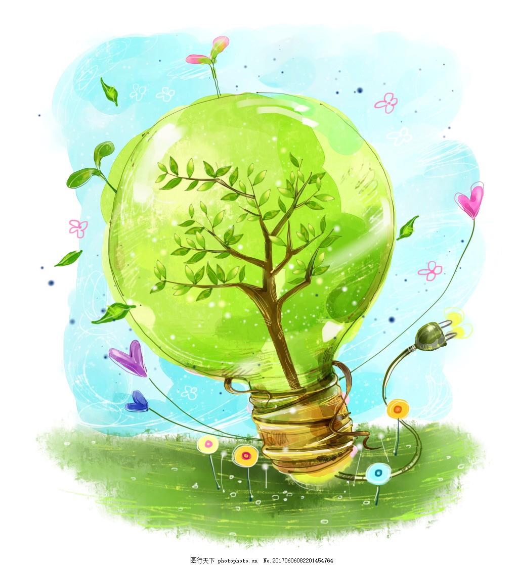 绿色手绘灯泡 环保 手绘背景 创意背景 春季背景 手绘风景 手绘夏季