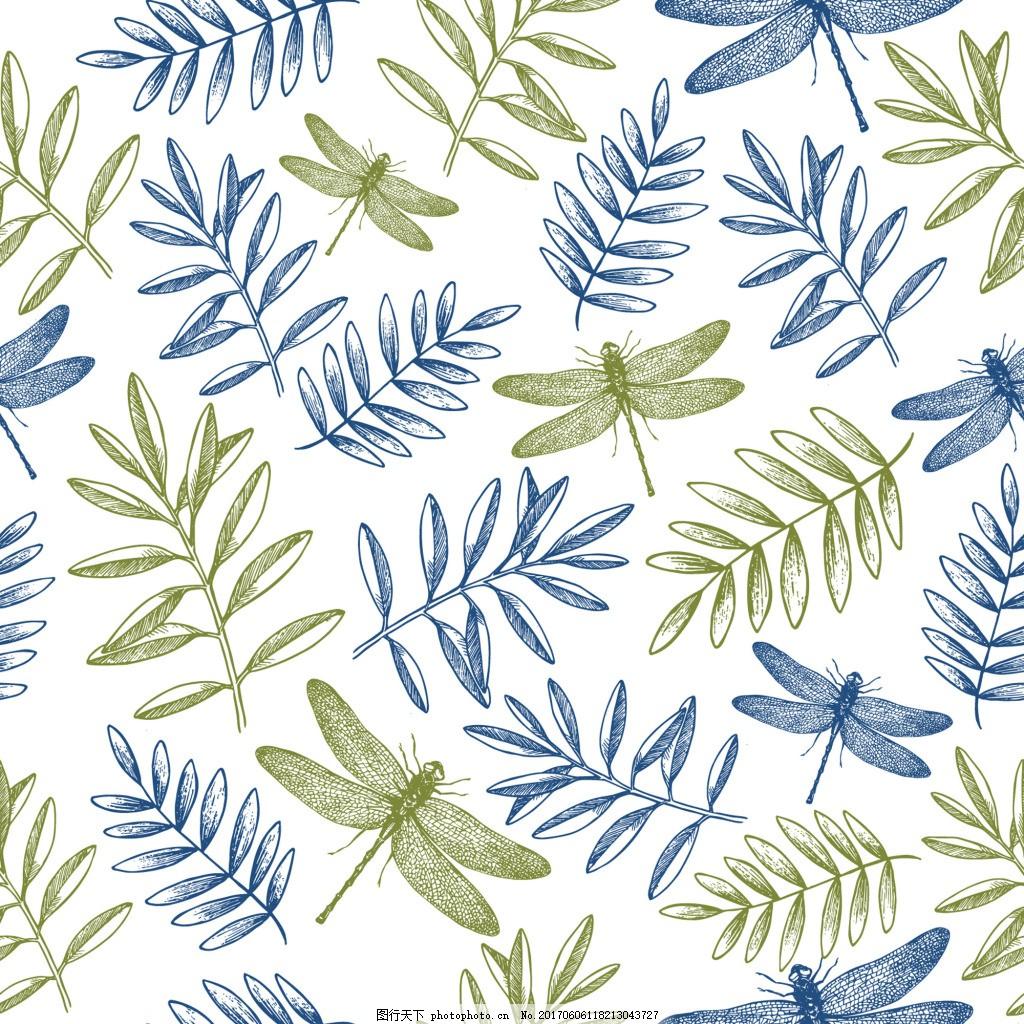 树枝蜻蜓元素背景矢量 夏天 春天 线描花朵 手绘 铅笔画 广告