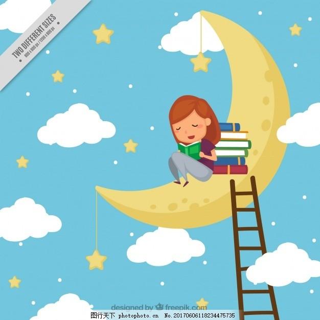 女孩在月球上读书的背景 背景 书籍 教育 天空 世界 可爱 月亮 星星