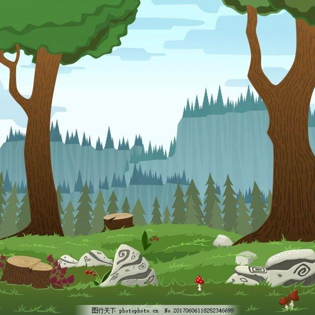 广场森林景观矢量卡通插画