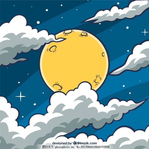 天空背景与月亮和手绘云彩